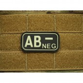 JTG BLOOD TYPE PATCH AB NEGATIVE GLOW IN THE DARK  3D RUBBER