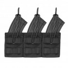 WARRIOR TRIPLE MOLLE OPEN AK 7.62MM MAG POUCH - BLACK