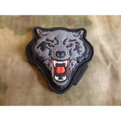 JTG ANGRY WOLF HEAD PATCH RED-GREY