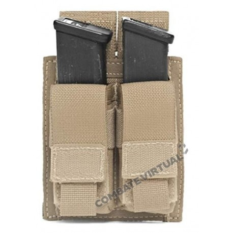 WARRIOR DIRECT ACTION DOUBLE 9MM PISTOL MAG POUCH - COYOTE TAN