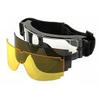 PJ PANORAMIC VENTILATED GOGGLES (3 LENS KIT) - BLACK
