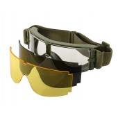 PJ PANORAMIC VENTILATED GOGGLES (3 LENS KIT) - OLIVE DRAB
