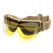 PJ PANORAMIC VENTILATED GOGGLES (3 LENS KIT) - TAN