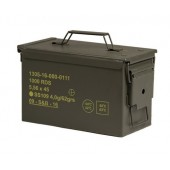 US SURPLUS MEDIUM CAL.50/5.56 METAL AMMO BOX - USADO, COMO NOVO