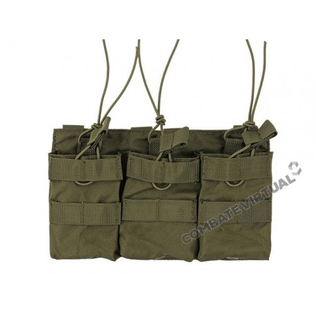 8FIELDS TRIPLE OPEN TOP 7.62 X 51MM MAGAZINE POUCH - OLIVE DRAB