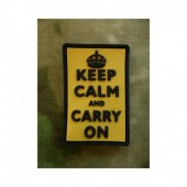 JTG KEEP CALM AND CARRY ON PATCH YELLOW 3D RUBBER