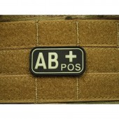 JTG BLOOD TYPE PATCH AB POSITIVE GLOW IN THE DARK  3D RUBBER