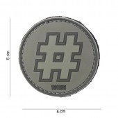 ACM PATCH 3D PVC HASHTAG GREY