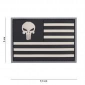 ACM PATCH 3D PVC PUNISHER USA FLAG GREY/BLACK