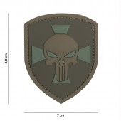 ACM PATCH 3D PVC SHIELD PUNISHER CROSS BROWN